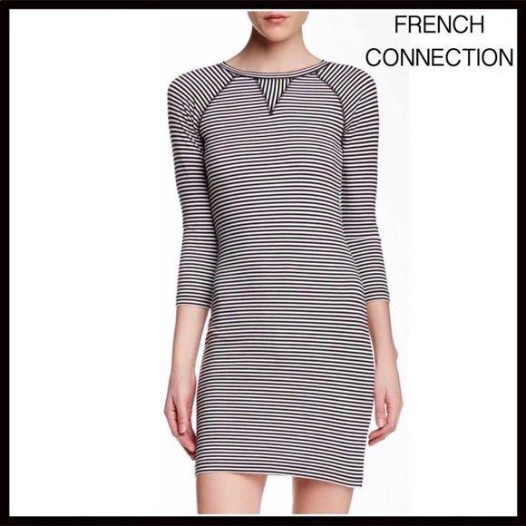8e653629c94 FRENCH CONNECTION KNIT STRIPED LONG SLEEVE DRESS